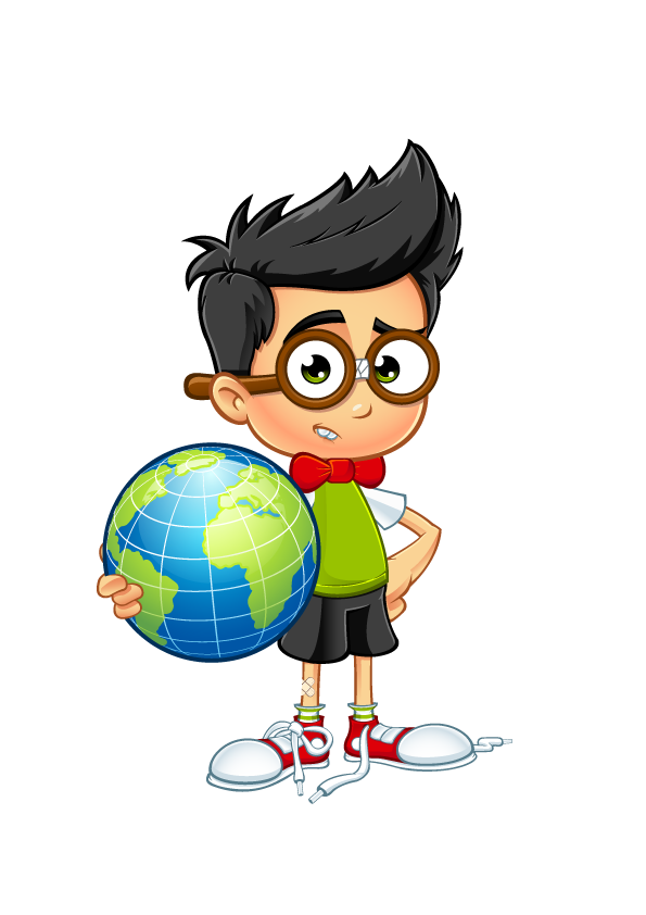Geek Boy - Holding A Globe